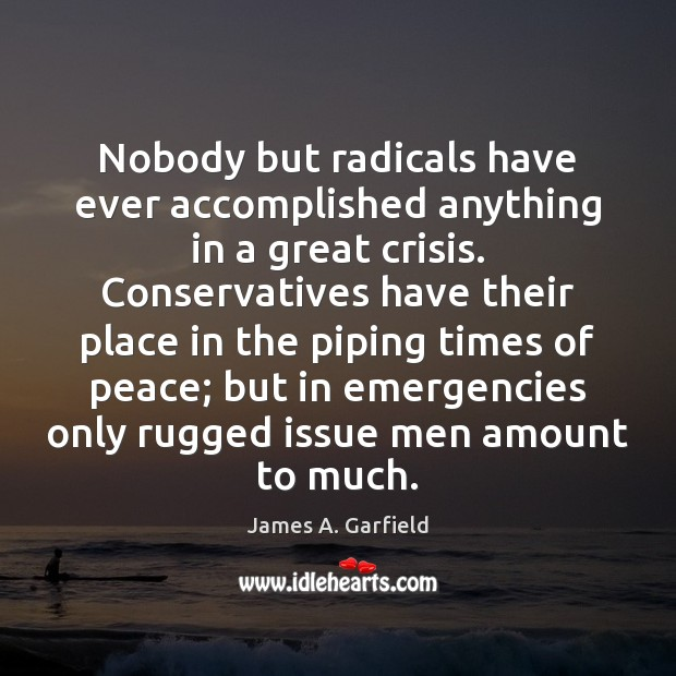 James A. Garfield Picture Quote image saying: Nobody but radicals have ever accomplished anything in a great crisis. Conservatives