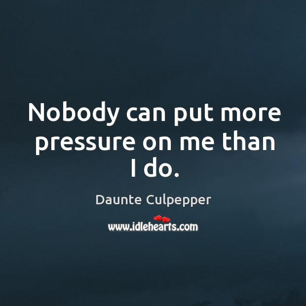 Nobody can put more pressure on me than I do. Image