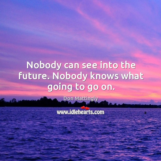 Nobody can see into the future. Nobody knows what going to go on. Image
