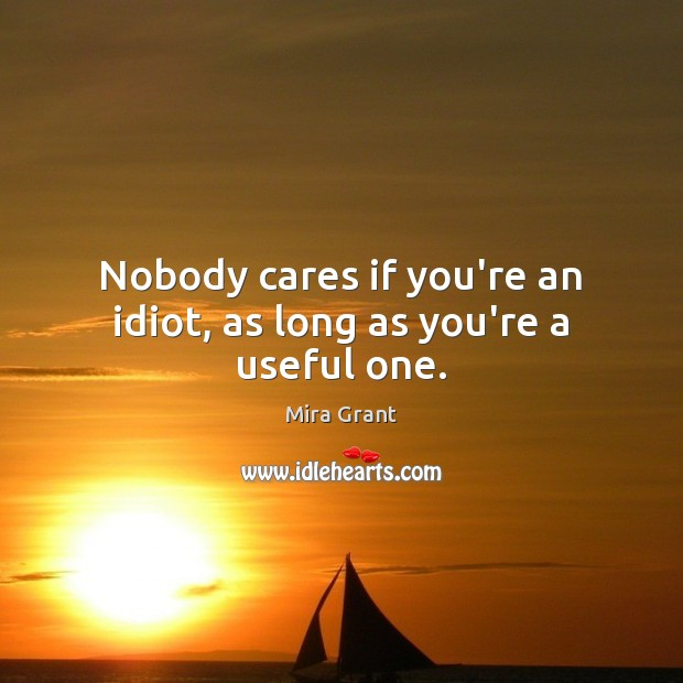 Nobody cares if you're an idiot, as long as you're a useful one. Image