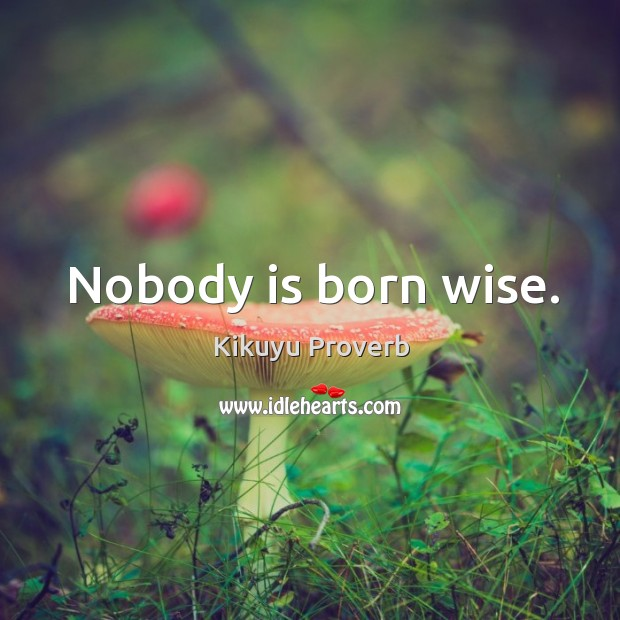 Nobody is born wise. Image