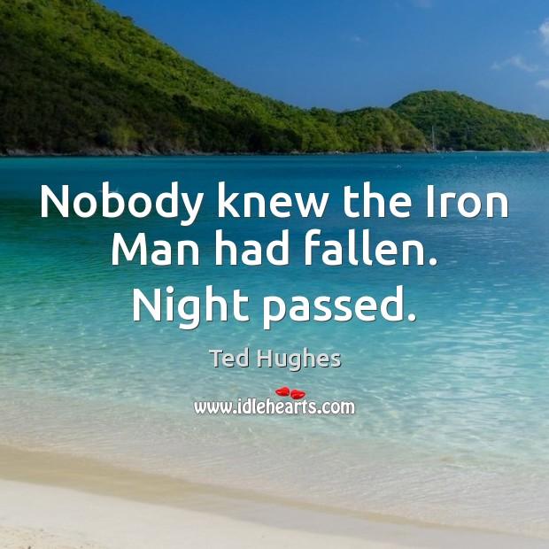 Nobody knew the Iron Man had fallen. Night passed. Image