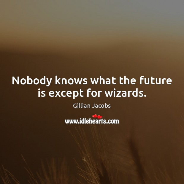 Nobody knows what the future is except for wizards. Image
