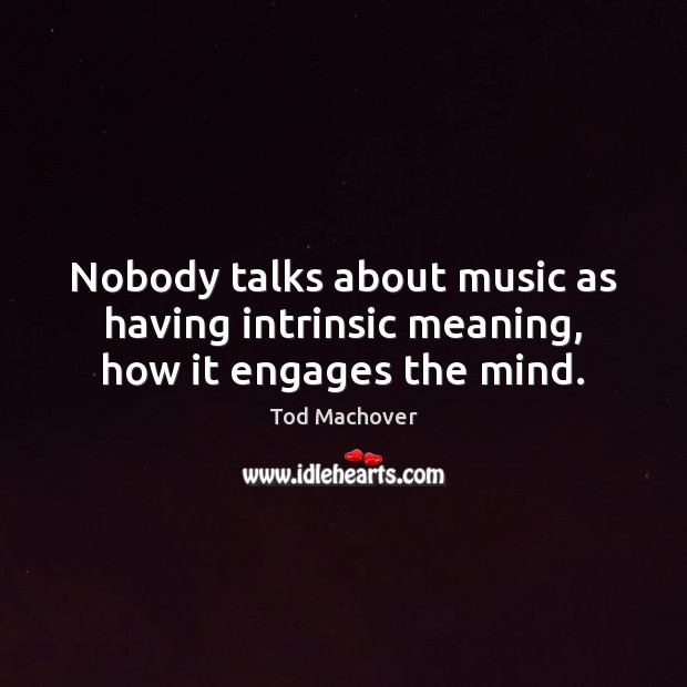 Nobody talks about music as having intrinsic meaning, how it engages the mind. Image
