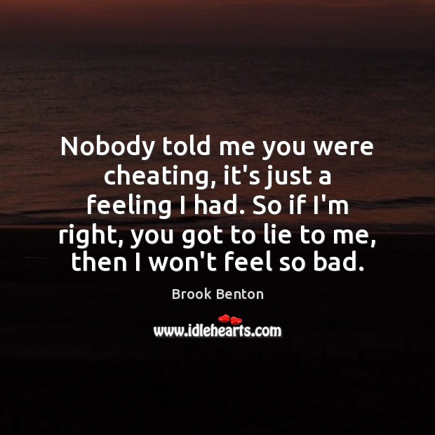 Nobody told me you were cheating, it's just a feeling I had. Image