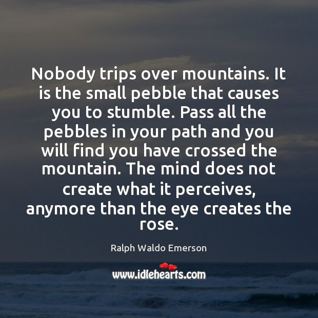 Nobody trips over mountains. It is the small pebble that causes you Image