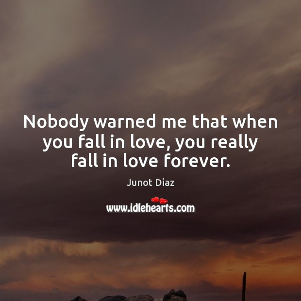 Nobody warned me that when you fall in love, you really fall in love forever. Junot Diaz Picture Quote