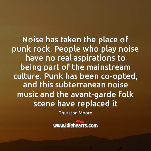 Noise has taken the place of punk rock. People who play noise Image