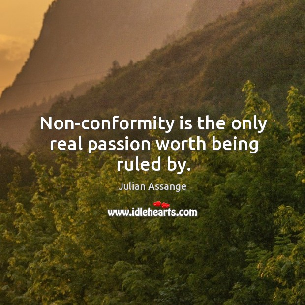 Non-conformity is the only real passion worth being ruled by. Image