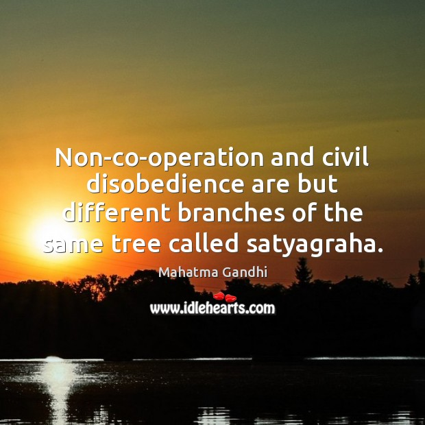 Non-co-operation and civil disobedience are but different branches of the same tree Image