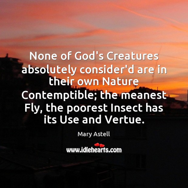 None of God's Creatures absolutely consider'd are in their own Nature Contemptible; Image