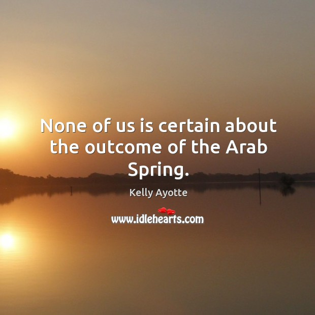 None of us is certain about the outcome of the arab spring. Image