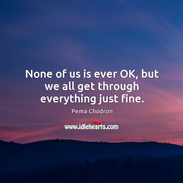 Image, None of us is ever OK, but we all get through everything just fine.