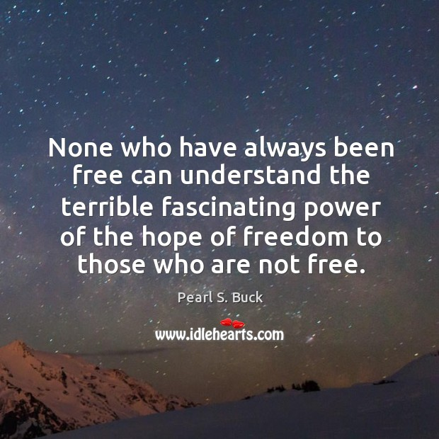 None who have always been free can understand the terrible Image