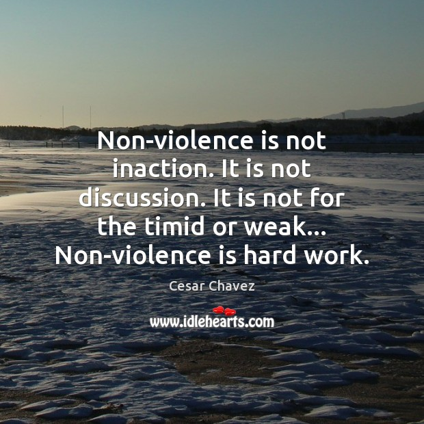 Image, Non-violence is not inaction. It is not discussion. It is not for