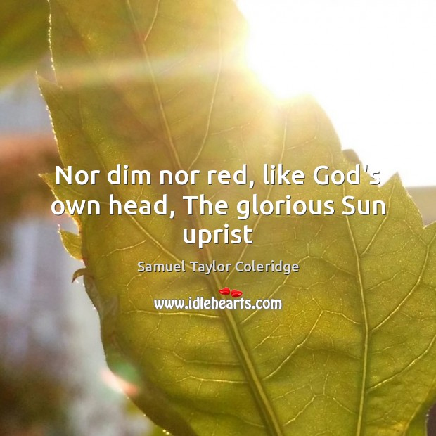 Nor dim nor red, like God's own head, The glorious Sun uprist Image