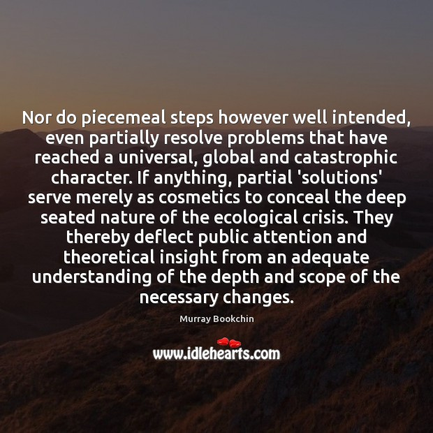 Nor do piecemeal steps however well intended, even partially resolve problems that Image