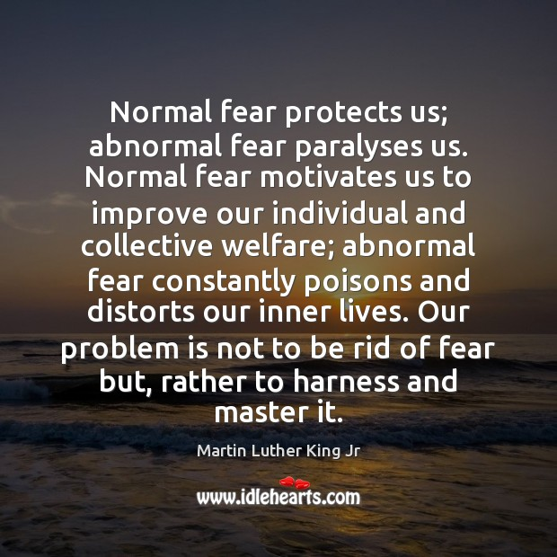 Image, Normal fear protects us; abnormal fear paralyses us. Normal fear motivates us
