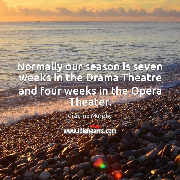 Normally our season is seven weeks in the Drama Theatre and four Image