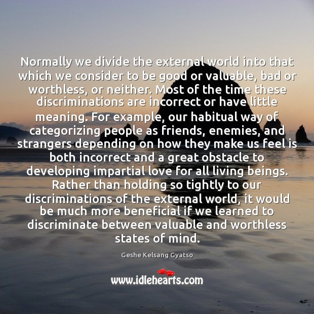 Normally we divide the external world into that which we consider to Geshe Kelsang Gyatso Picture Quote
