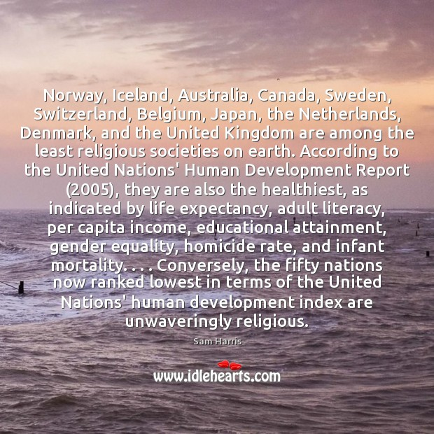 Norway, Iceland, Australia, Canada, Sweden, Switzerland, Belgium, Japan, the Netherlands, Denmark, and Sam Harris Picture Quote