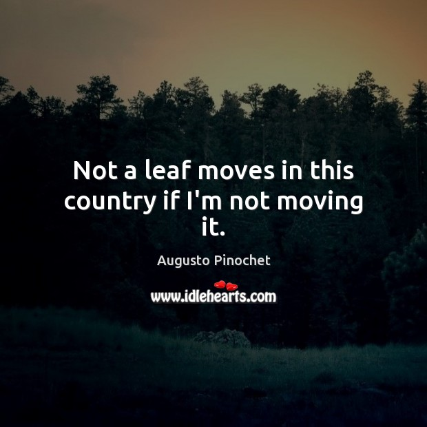 Not a leaf moves in this country if I'm not moving it. Augusto Pinochet Picture Quote