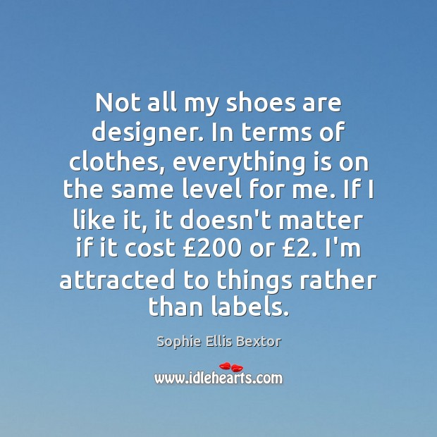 Not all my shoes are designer. In terms of clothes, everything is Sophie Ellis Bextor Picture Quote