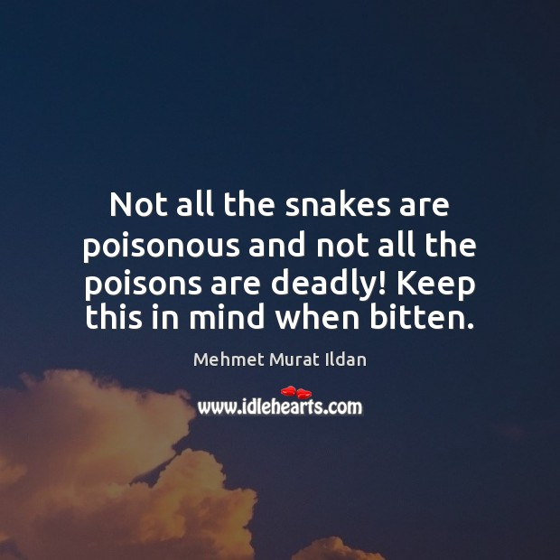 Image, Not all the snakes are poisonous and not all the poisons are