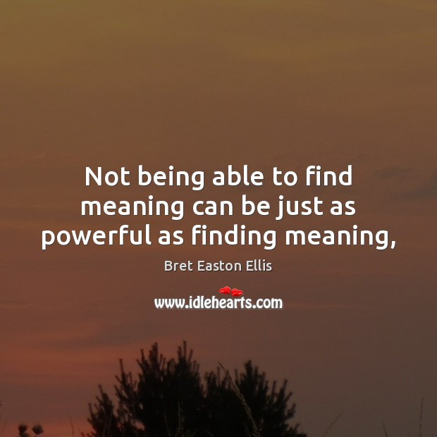 Not being able to find meaning can be just as powerful as finding meaning, Bret Easton Ellis Picture Quote