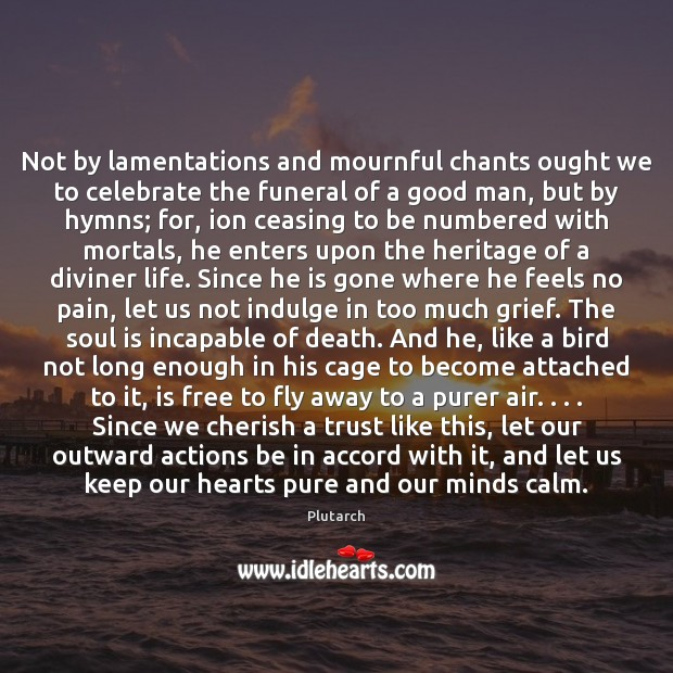Not by lamentations and mournful chants ought we to celebrate the funeral Plutarch Picture Quote