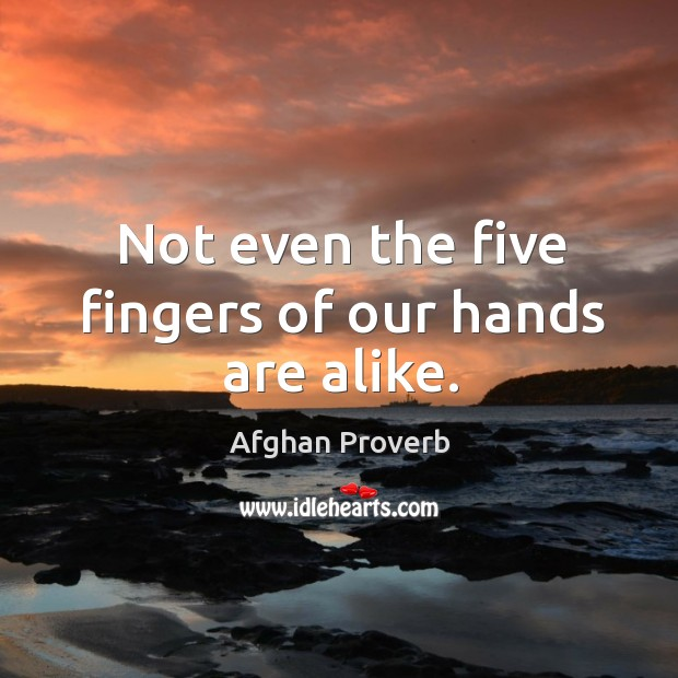 Not even the five fingers of our hands are alike. Afghan Proverbs Image