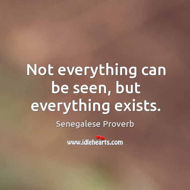 Not everything can be seen, but everything exists. Senegalese Proverbs Image