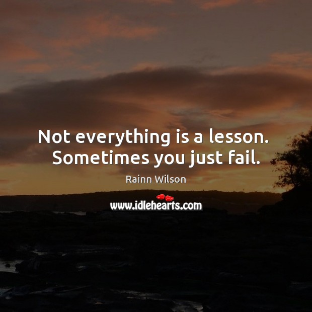 Not everything is a lesson.  Sometimes you just fail. Rainn Wilson Picture Quote