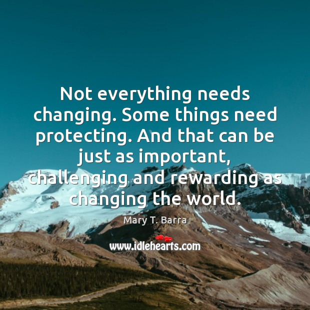 Not everything needs changing. Some things need protecting. And that can be Image