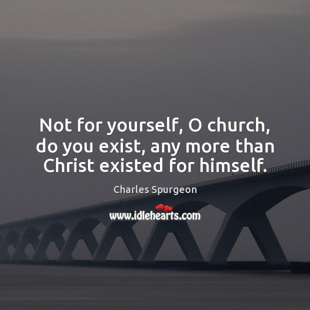 Image, Not for yourself, O church, do you exist, any more than Christ existed for himself.