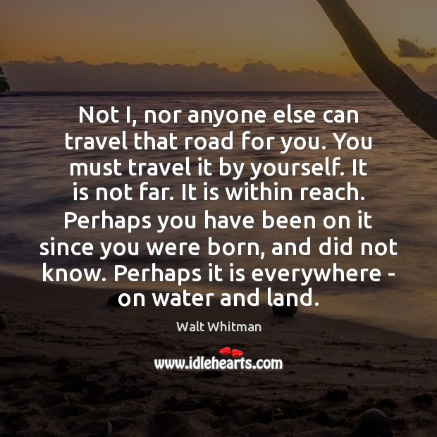 Not I, nor anyone else can travel that road for you. You Image