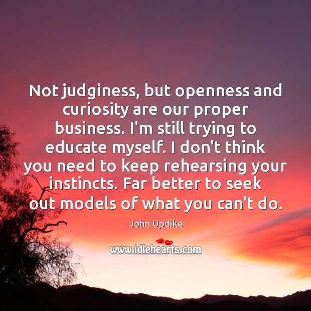 Not judginess, but openness and curiosity are our proper business. I'm still John Updike Picture Quote
