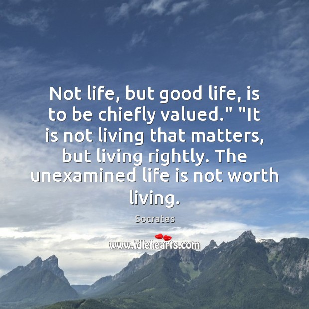 """Image, Not life, but good life, is to be chiefly valued."""" """"It is"""