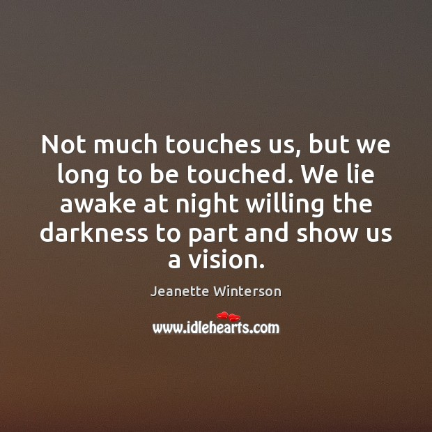 Not much touches us, but we long to be touched. We lie Jeanette Winterson Picture Quote