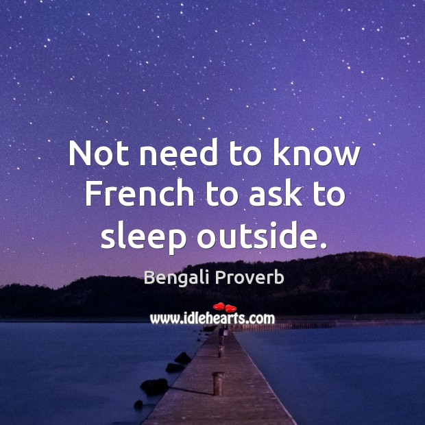 Not need to know french to ask to sleep outside. Bengali Proverbs Image
