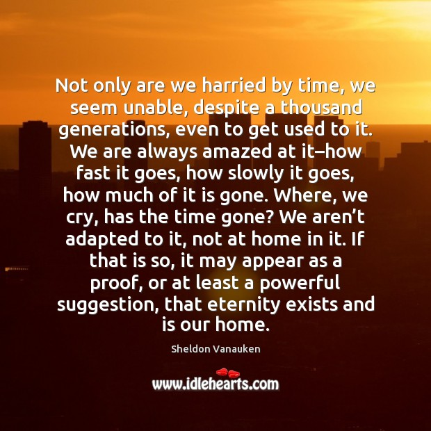 Not only are we harried by time, we seem unable, despite a Sheldon Vanauken Picture Quote