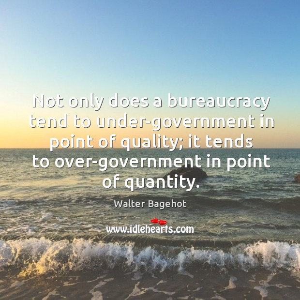 Image, Not only does a bureaucracy tend to under-government in point of quality;