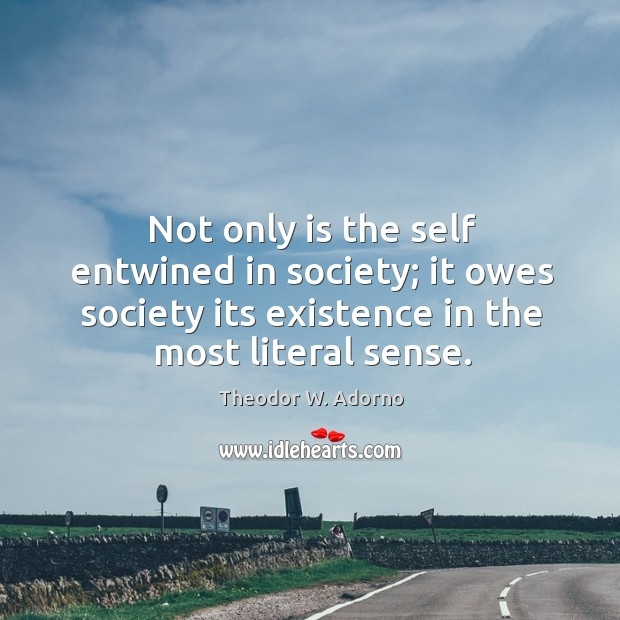 Not only is the self entwined in society; it owes society its existence in the most literal sense. Theodor W. Adorno Picture Quote