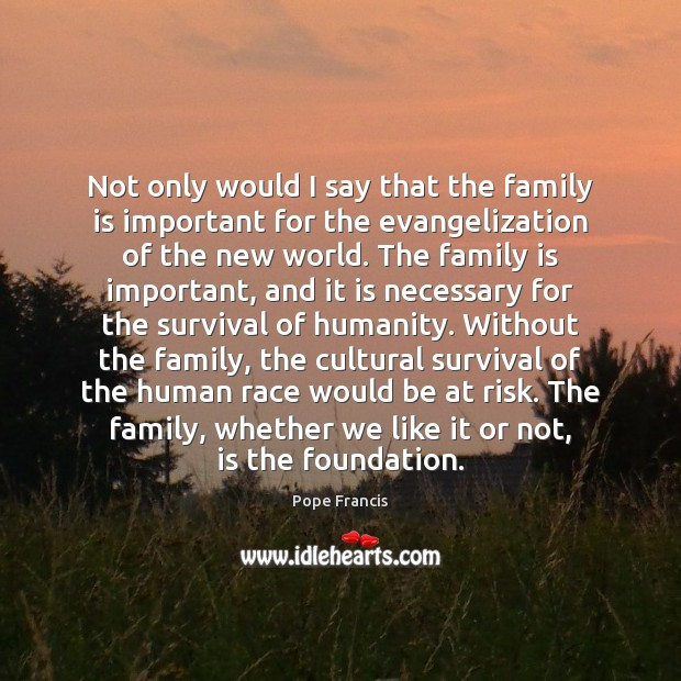 Not only would I say that the family is important for the Pope Francis Picture Quote