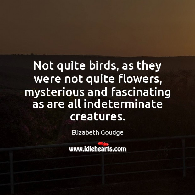 Not quite birds, as they were not quite flowers, mysterious and fascinating Elizabeth Goudge Picture Quote