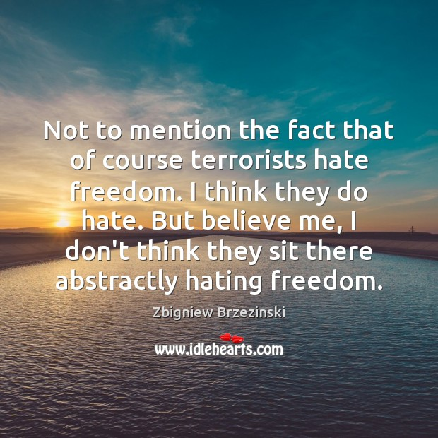 Image, Not to mention the fact that of course terrorists hate freedom. I