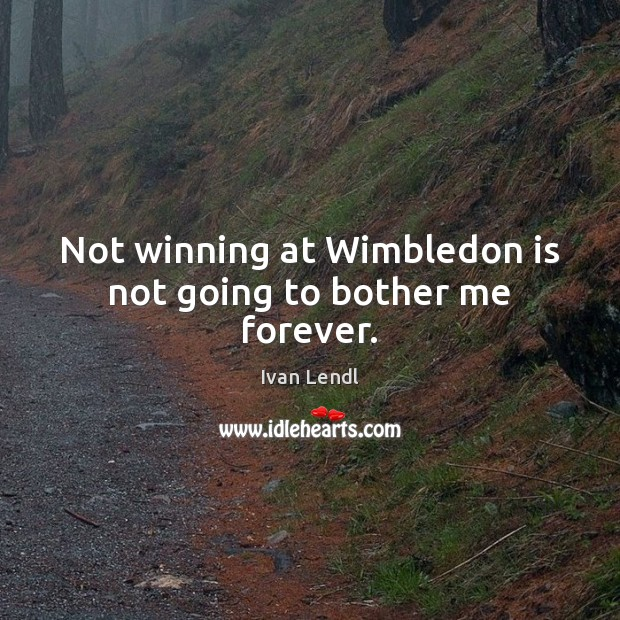 Not winning at Wimbledon is not going to bother me forever. Image