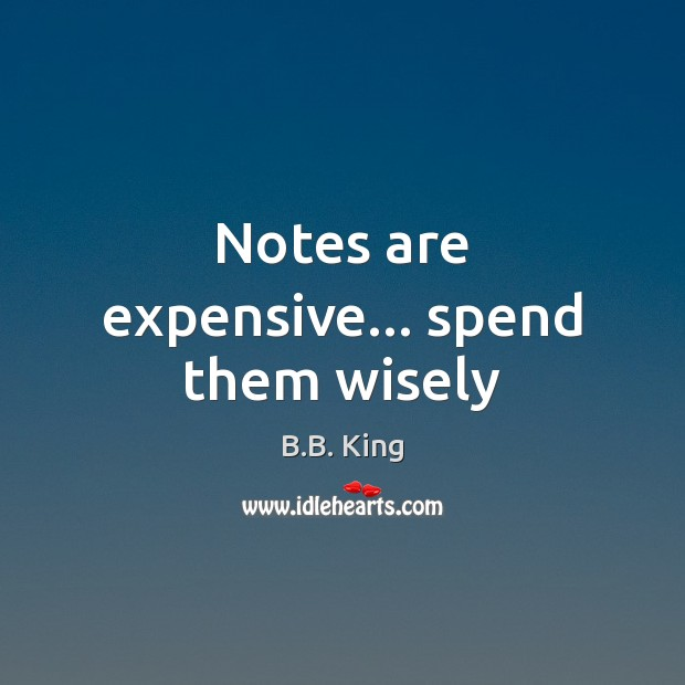 Notes are expensive… spend them wisely B.B. King Picture Quote