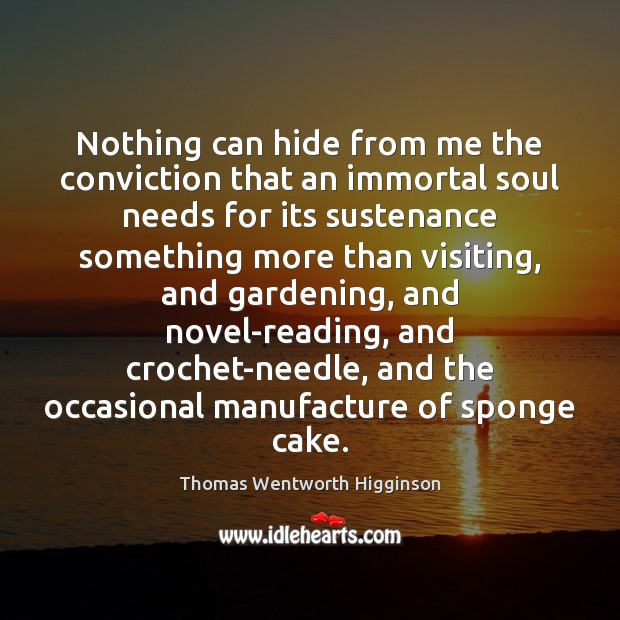 Nothing can hide from me the conviction that an immortal soul needs Thomas Wentworth Higginson Picture Quote