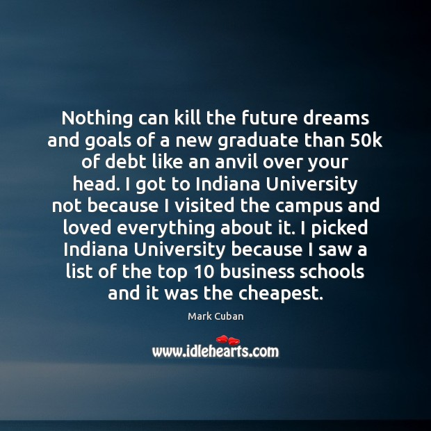 Nothing can kill the future dreams and goals of a new graduate Mark Cuban Picture Quote